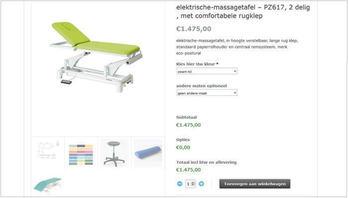Massagetafel.com responsive uitgebreide webwinkel Den Bosch